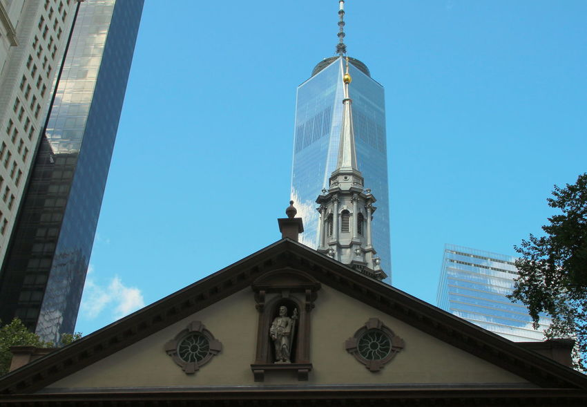 Chapel Figure New York City Saint Paul St Paul's Chapel St Pauls Church WTC Architecture Blue Sky Building Exterior Built Structure City Clear Sky Cornice Low Angle View No People Religion Rofftop Skyscraper Tower World Trade Center One