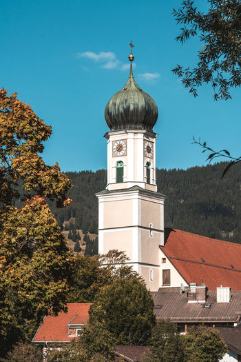 Bavaria church Architecture Building Exterior Built Structure Tree Building Plant Sky Tower Nature No People Day Religion Place Of Worship Belief Blue Dome Spirituality Low Angle View Outdoors Travel Destinations Church