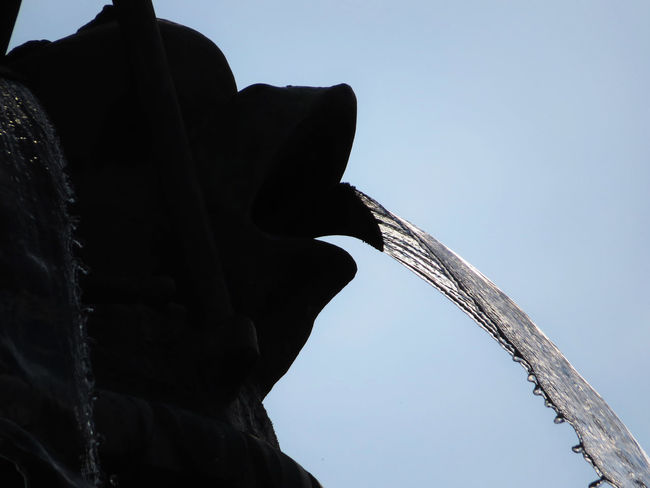 Clear Sky Detail Fountain Low Angle View No People Outdoors Silhouette Water Flow Water Jet
