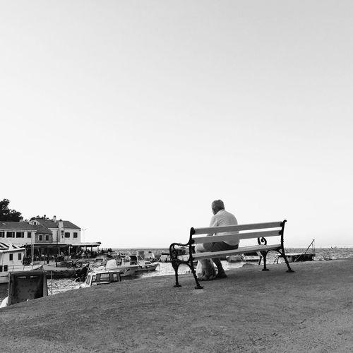 Serenity @ Rovenska, Veli Losinj, Croatia, 2016. Veli Lošinj Croatia Serenity Cityscape Landscape Old Man Sitting Relaxing Bench Sea Adriatic Sea Seascape Mediterranean  Water Boat Cove Harbour Bay