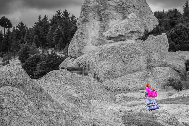 Raramuri Rock Sierra Tarahumara Walking Around Lanscape Nature One Person Pink Color Real People Rock Valley