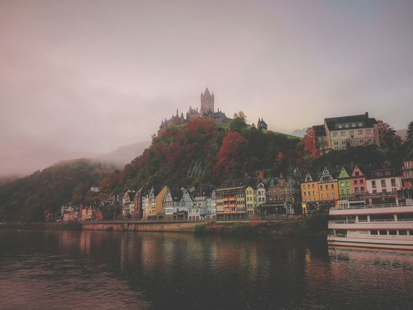 Cochem Deutschland No People Autumn Water River Mosel October Buildings City Urban Skyline Cityscape Place Of Worship Nautical Vessel Lake Sunset Tree Politics And Government Water Leaves Historic Foggy Autumn Collection