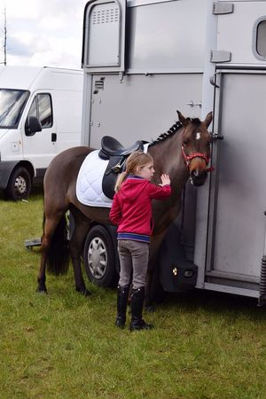 Sports Photography Horse Riding Pony Togetherness Outdoor Photography Horse Trailer Little Rider Grassland Getting Ready Tournament Day  Dressage