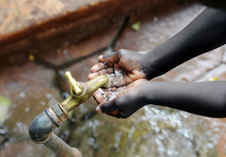 Close-up of hand holding stick water