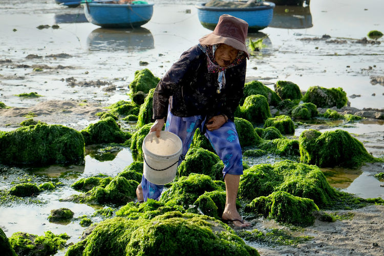 Senior woman holding bucket while working on mossy rocks at beach