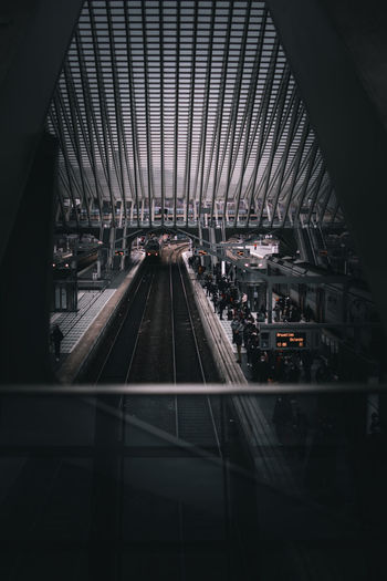 High angle view of railroad station