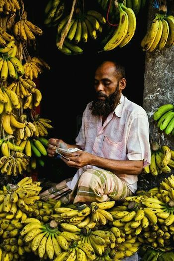Banana Yellow Counting #Bangladesh #poor Farmer Agriculture Occupation Business Finance And Industry Smiling For Sale