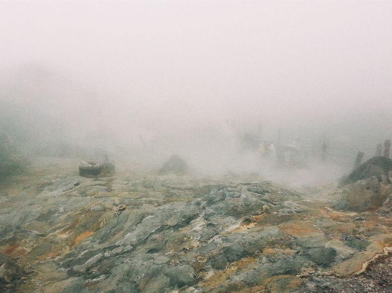 Beauty In Nature Day Erupting Extreme Terrain Fog Geology Geyser Hazy  Heat Hot Spring Landscape Mist Mountain Nature No People Non-urban Scene Onsen Outdoors Physical Geography Scenics Tranquil Scene Tranquility Weather