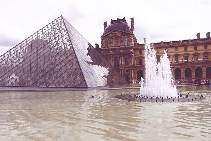 Water Fountain Sky Travel Destinations Splashing Architecture Waterfront Outdoors Day Statue No People Paris France Louvre