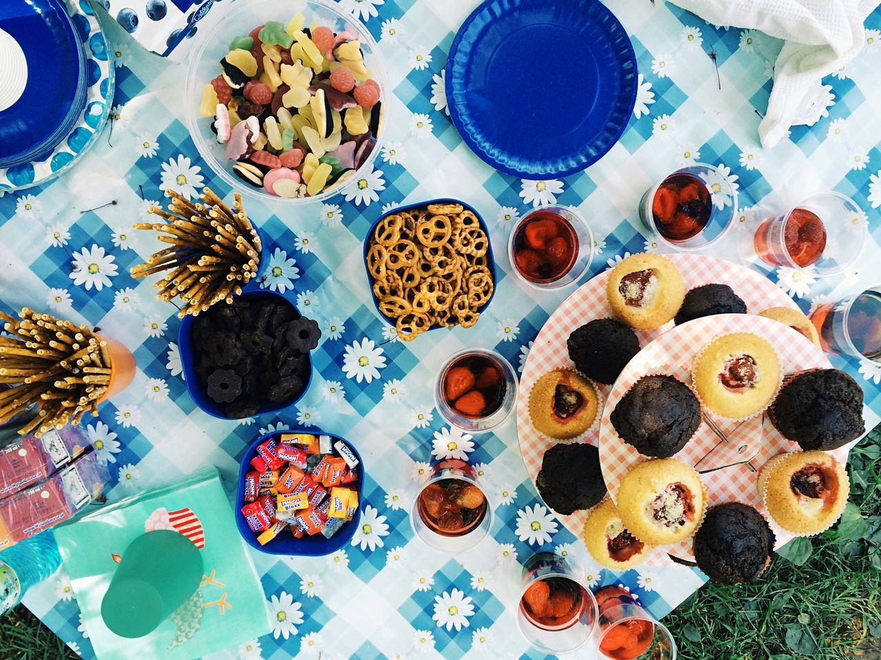 High Angle View Of Various Foods On Table