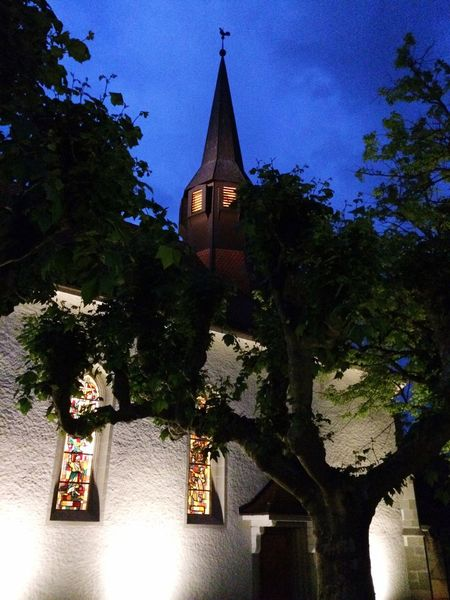 Church Tower Cultural Heritage Architecture Spirituality Tree Night Vision Hanging Out