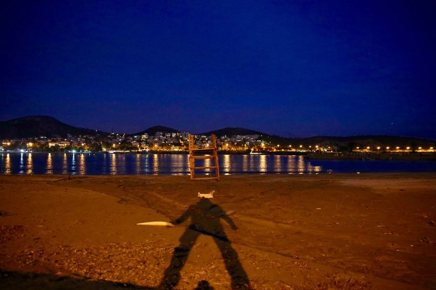 Shadow Warrior - GREECE Beach Beach Life Beach Night Beach Photography Beachlife Beachphotography Getting Away From It All Outdoors Reflection Sea Shadow Shadow Man Shadow-art Shadows Shadows & Lights Sky Standing Water Tranquil Scene Traveling Vouliagmeni Water #urbanana: The Urban Playground