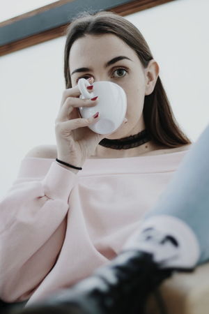 Cafe Coffee Drinking Only Women Adults Only One Woman Only Adult One Person Portrait People Young Women Looking At Camera Young Adult Headshot Women Indoors  Close-up Holding Fashion Stories