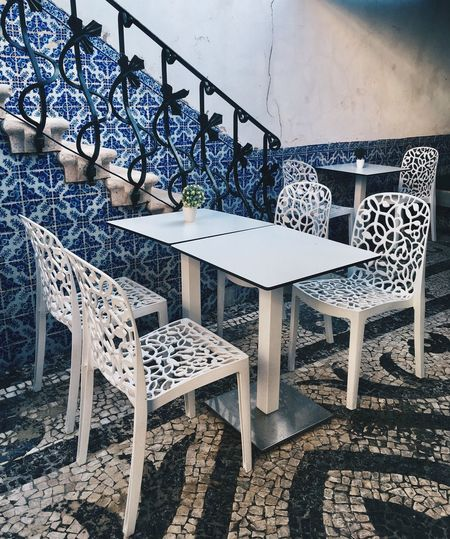 Tea Place Blue White Aveiro Table Chair High Angle View Day