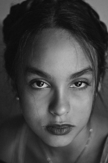 Lolita's Life, 2017 Black & White Braids Emotions Looking At Camera Makeup Natural Light Black And White Childhood Close Up Close-up Day Front View Headshot Indoors  Lifestyles Look Looking At Camera One Person Portrait Portrait Photography Real People Teenager Young Adult Young Woman Young Women The Portraitist - 2018 EyeEm Awards
