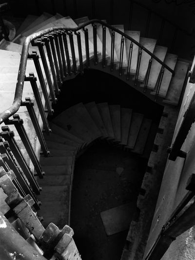 Close-up No People Darkroom Darkness Afraid Igers Portugal Day Nature Steps Architecture Indoors  Blackandwhite Portugalcomefeitos Lisboa Lisbon Europe HDR Staircase Spiral Steps And Staircases Built Structure Spiral Staircase Railing High Angle View First Eyeem Photo