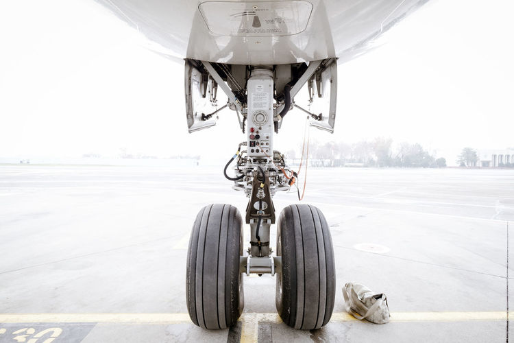 Close-up of airplane at airport