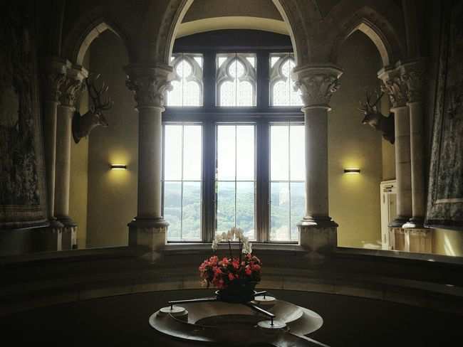 Up in the castle... Indoors  Window Flower Lighting Equipment Vase Illuminated Church Arch Window Sill Place Setting History Place Of Worship Freshness Schloss Werningerode Wernigerode Harz Harzmountains Up On The Hill Interior Design Interior Great View Fairy Castle