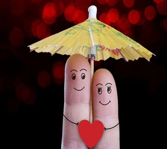 Fingers Couple Umbrella Cute Fingerpainting Art, Drawing, Creativity Finger Finger Painting