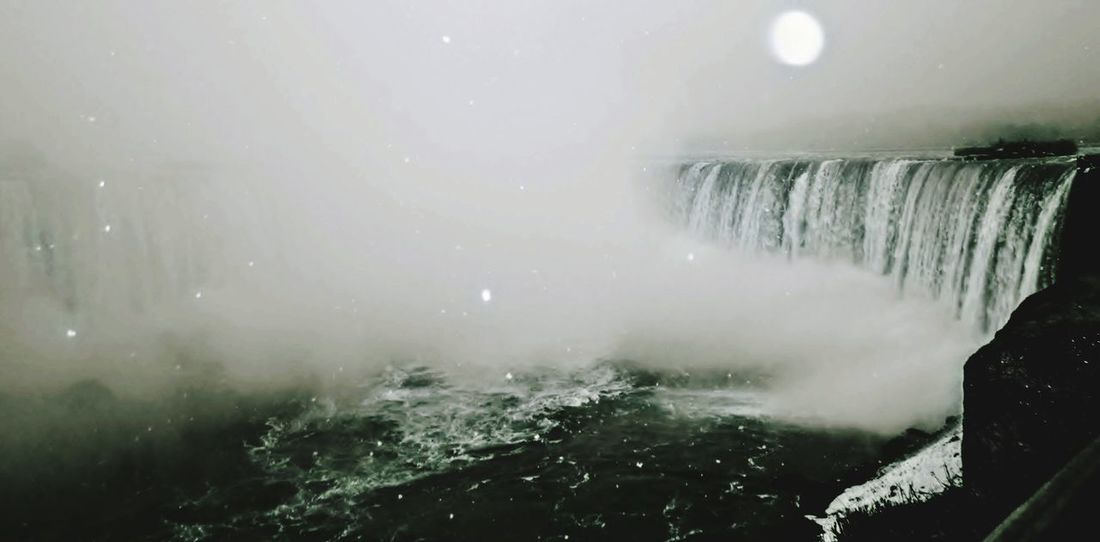 The mighty Niagara Falls (🇨🇦), on a cold winter's night. Waterfall Motion Fog Nature Power In Nature Water Beauty In Nature Scenics No People Outdoors Niagara Falls Canada