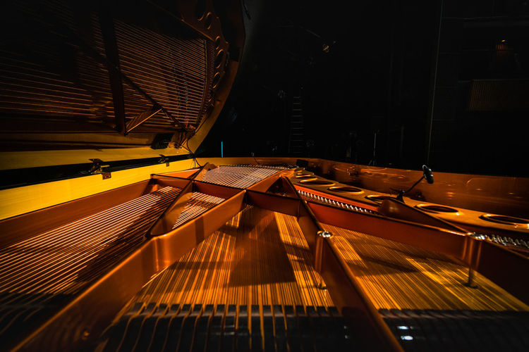 High angle view of piano at home