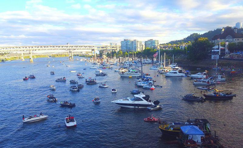 Portland Oregon Portland Waterfront Willamette River  Bridges Clouds And Sky Boats Boats And Water Bluesfestival Portland Blues Fest
