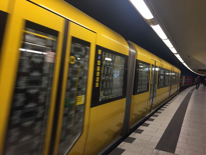 Transportation Railroad Station No People Public Transportation Illuminated Subway Station Subway u Bahn Berlin Underground Motion yellow