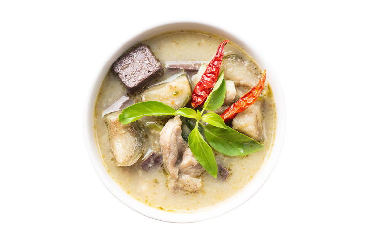 Thai green curry chicken with rice noodles, Thai food Curry Green Chicken Food Thai Coconut Milk Bowl Isolated Soup Meal Cuisine Spicy Asian  Chili  Delicious Gourmet Healthy Homemade Cooking Creamy Lunch Dinner Basil Diet Nutrition Eating Top View White Background Object Healthy Eating Studio Shot Ready-to-eat Serving Size High Angle View