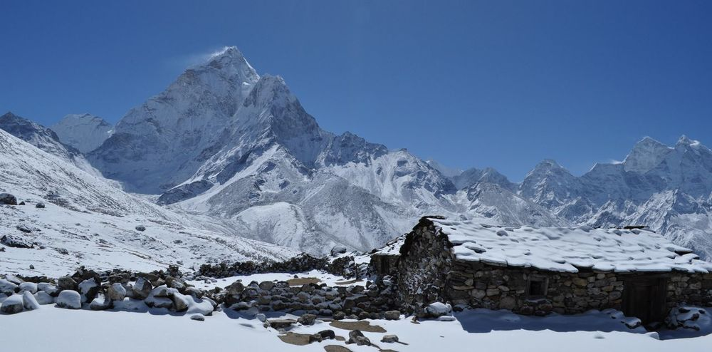 Everest Region Snow ❄ Trekking Clear Sky Mountain Range Nepali  Snowcapped Mountain Tranquil Scene