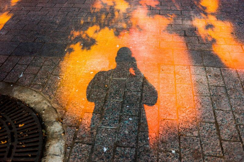 Austin Texas Candid Downtown Austin Fire Public Reflection Selfie Shadow Streetphotography