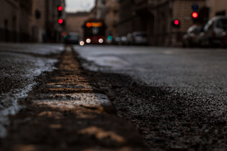 Surface level of road at night