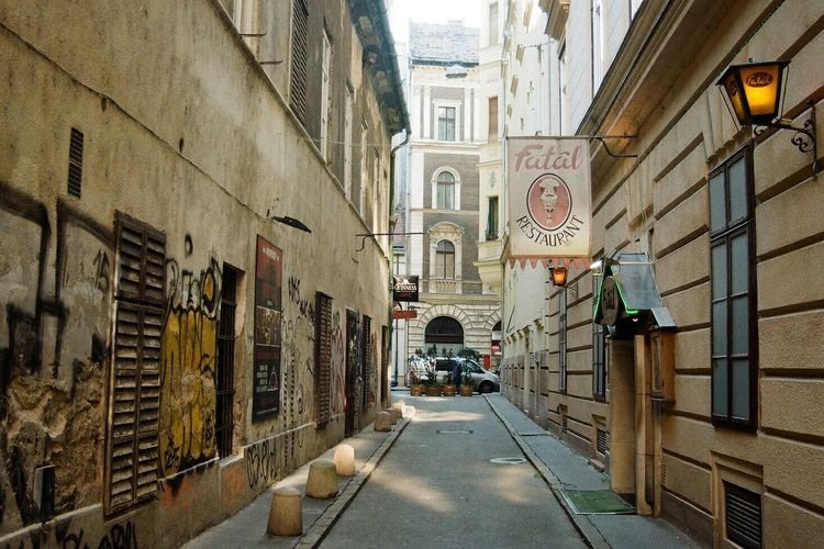 Narrow alley in city