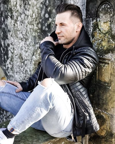 Have a Break Leather Jacket One Person Men One Man Only Outdoors Adult Only Men People Adults Only Portrait Young Adult Sitting Close-up Day
