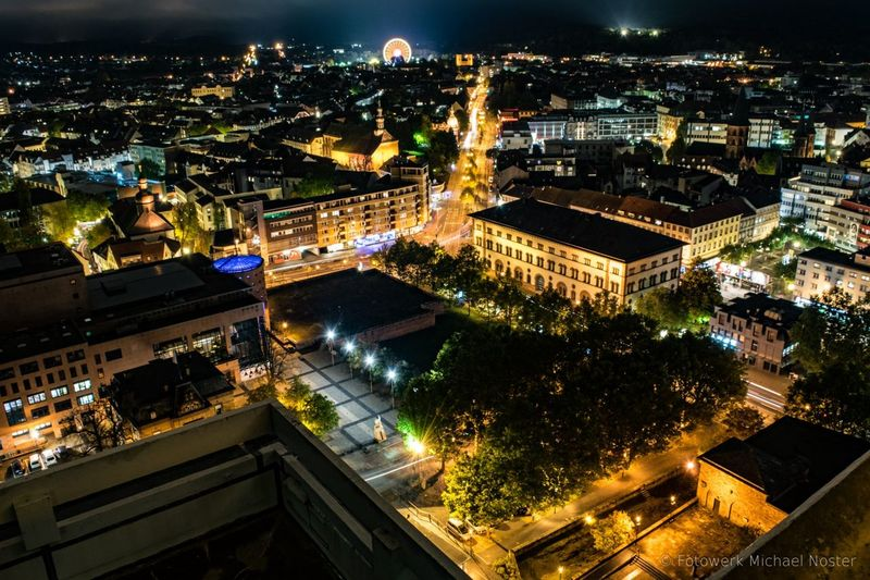 Kaiserslautern Night Illuminated Cityscape Architecture City High Angle View Urban Skyline Nightlife