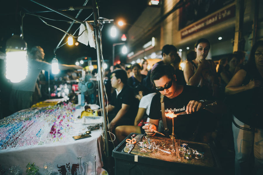 Adult Adults Only Arts Culture And Entertainment Craftsman Craftsmanship Abstract Illuminated Indoors  Men Music Night Night Market Only Men People Real People Southeast Asia Thailand
