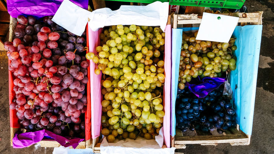 Grapes of different colors in wooden boxes in sunlight Agriculture Green Nature Plant Red Vivid Wood Background Basket Beauty Closeup Cluster Color Food Fresh Fruit Garden Grape Harvest Healthy Oganic  Season  Vegetation Vine Vineyard