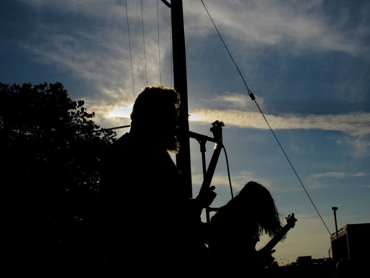 Music forever Silhouette Tree Sky Power Supply Low Angle View Hobbies Cloud Cloud - Sky Outline Nature Day Outdoors EyeEm Canon Sx520 Canonphotography Silhouette Music Thrashmetal Thrash Metal Metal Music Music Is Life Moshpits Concert Photography Majestic Majestic As Fuq