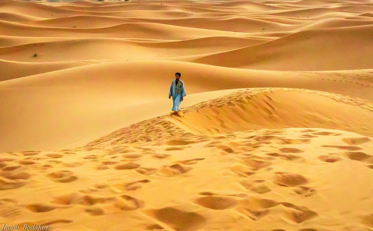 sand, sand dune, desert, arid climate, nature, real people, one person, landscape, scenics, beauty in nature, sunset, rear view, adventure, tranquil scene, walking, full length, leisure activity, lifestyles, travel destinations, outdoors, tranquility, vacations, day, sky, people