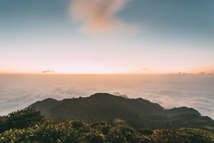 Dawn on the top of mountains Water Sea Plant Sunset Tranquility Sky Tranquil Scene Scenics - Nature Beauty In Nature Idyllic Nature Cloud - Sky No People Mountain Non-urban Scene Land Orange Color Tree Day Vietnam Trip Sa Pa Sapa Vietnamphotography