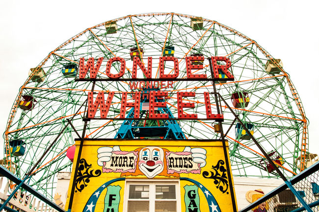 Arts Culture And Entertainment Coney Island Coney Island / Brooklyn NY Low Angle View Metal Wonder Wheel
