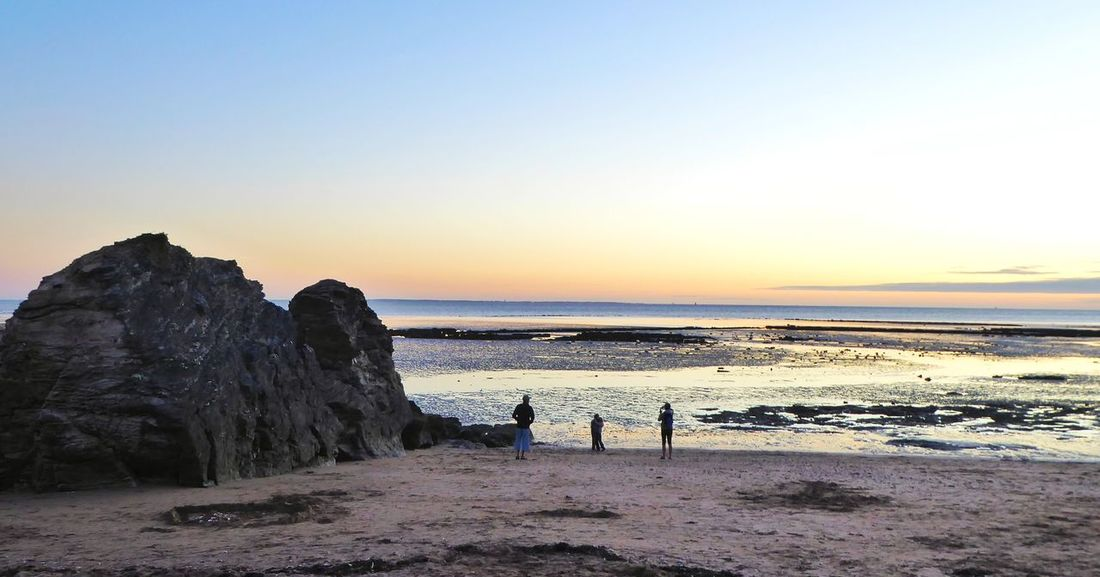Sunset Beach Sea Beauty In Nature Scenics Tranquility Silhouette Three People Horizon Over Water Tranquil Scene At Low Tide Water Sky Landscape Nature Tranquility Travel Destinations Loire-atlantique Bretagne France🇫🇷 Outdoors Beauty In Nature Sunlight