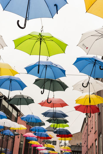 Abundance Arranged Arrangement Clear Sky Colorful Day Decor Denmark Design Group Of Objects Hanging In A Row Large Group Of Objects Low Angle View Medium Group Of Objects Mid-air Multi Colored Outdoors Protection Sky Umbrella Umbrellas Vejle