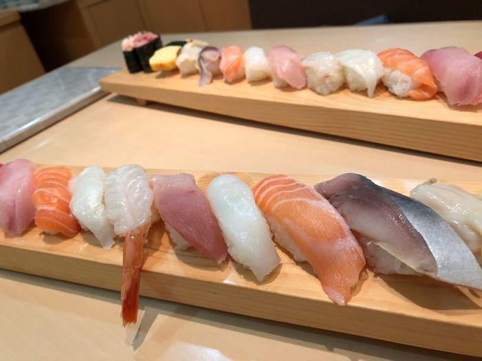 Japanese Soul food 【Sushi】 Seafood Japanese Food Sushi Freshness Raw Food Food Fish Food And Drink Sashimi  Healthy Eating Indoors  No People Salmon Chopsticks Close-up Day