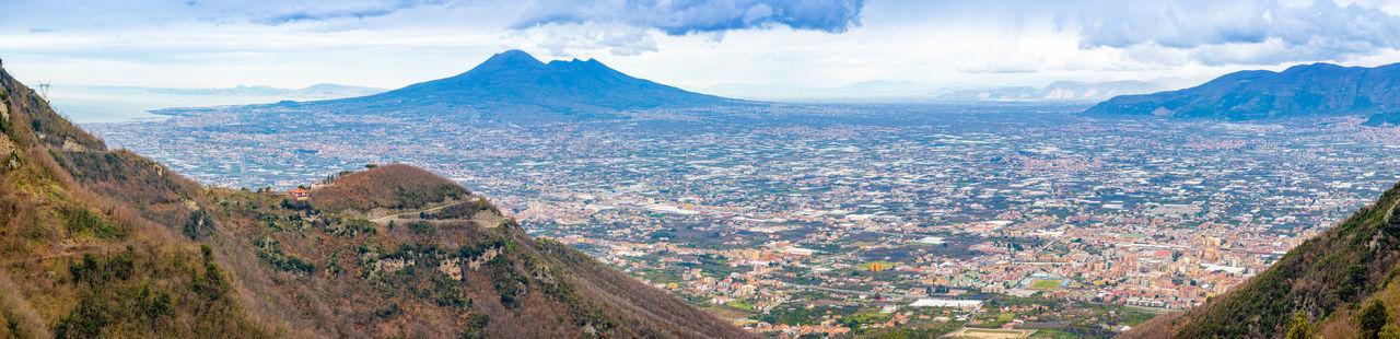 Pompeii  Italy Vesuvio Volcano Panorama Landscape City Mountain Nature Cloud - Sky