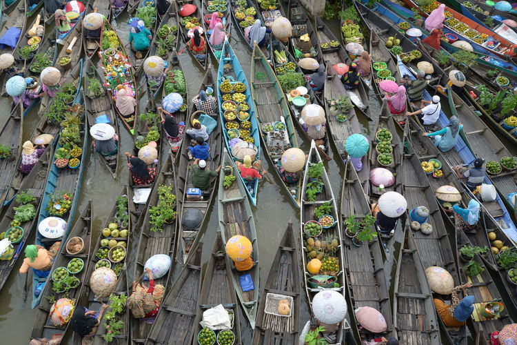 High angle view of people at floating market