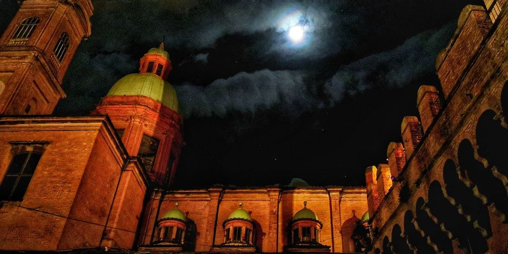 Dramatic Sky Moonlight Bologna, Italy Clods And Sky Nightphotography Night Lights Illuminated Astronomy History Sky Architecture Building Exterior Cathedral Place Of Worship Church