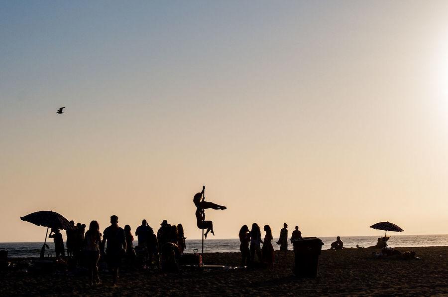 California Los Angeles, California Ocean Pole Dancing Santa Monica Sea Shore Sihouette  Sunset 43 Golden Moments