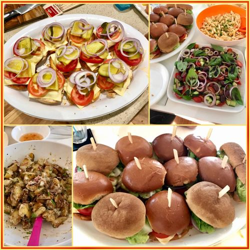 Dinner with the family 🥗🍲🍔🍴 Meal Mealtime Eyeemfood Familydinner Food Burgers Salad Delicous Yummy.  Foodcollage 🍔🥗🍲🍴