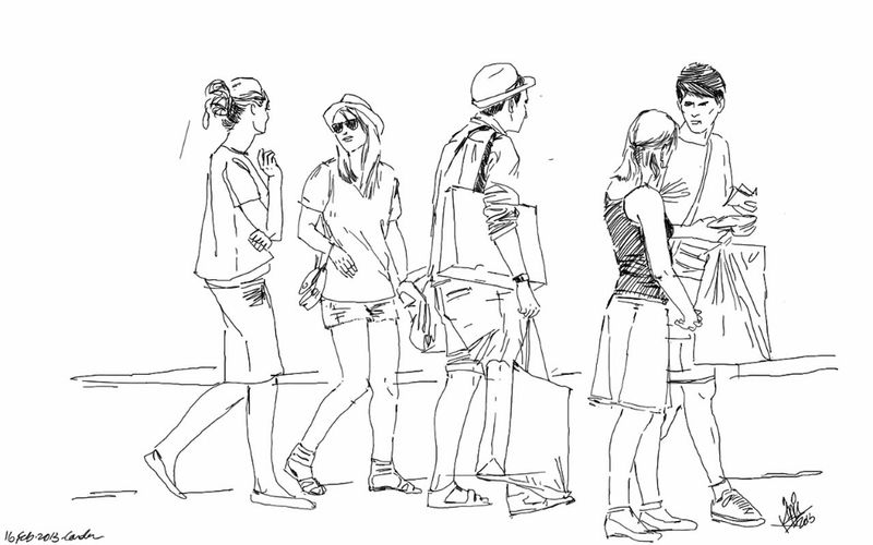 Shopping Friends People Sketch Day Out Kaay