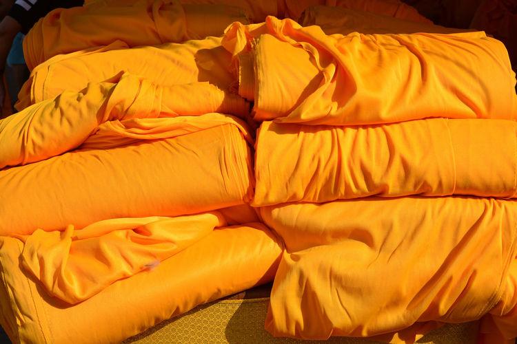 Full frame shot of yellow bed